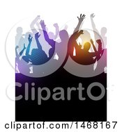 Clipart Of A Silhouetted Group Of Party People Royalty Free Vector Illustration