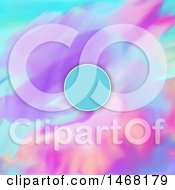 Poster, Art Print Of Blue Frame On A Colorful Watercolour Background
