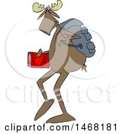 Clipart Of A School Moose Walking Upright Royalty Free Vector Illustration