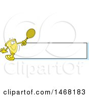 Clipart Of A Golden Trophy Mascot Playing Tennis By A Blank Banner Royalty Free Vector Illustration by Johnny Sajem