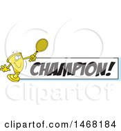 Clipart Of A Golden Trophy Mascot Playing Tennis By A Champion Banner Royalty Free Vector Illustration