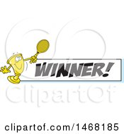 Clipart Of A Golden Trophy Mascot Playing Tennis By A Winner Banner Royalty Free Vector Illustration