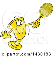 Clipart Of A Golden Trophy Mascot Playing Tennis Royalty Free Vector Illustration