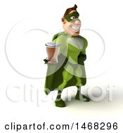 August 15th, 2017: Clipart Of A 3d Buff White Male Green Super Hero On A White Background Royalty Free Illustration by Julos