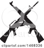 Clipart Of A Silhouetted Crossed Rifle Design Royalty Free Vector Illustration