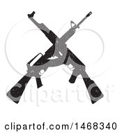 Clipart Of A Distressed Crossed Rifle Design Royalty Free Vector Illustration