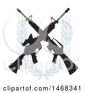 Clipart Of A Distressed Crossed Rifle Design With A Wreath Royalty Free Vector Illustration
