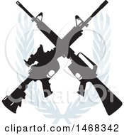 Clipart of a Crossed Rifle Design with a Wreath - Royalty Free Vector Illustration by BestVector #COLLC1468342-0144