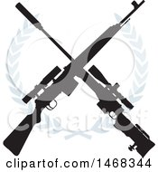 Clipart of a Crossed Rifle Design and Wreath - Royalty Free Vector Illustration by BestVector #COLLC1468344-0144