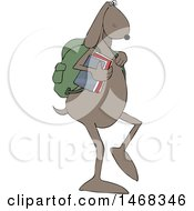 Clipart Of A Dog School Student Walking Upright Royalty Free Vector Illustration
