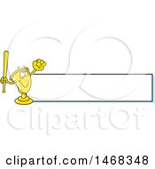 Clipart Of A Golden Trophy Mascot Playing Baseball By A Blank Banner Royalty Free Vector Illustration