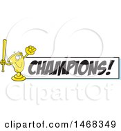 Golden Trophy Mascot Playing Baseball By A Champions Banner