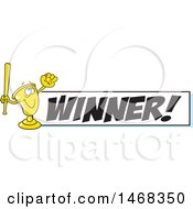 August 15th, 2017: Clipart Of A Golden Trophy Mascot Playing Baseball By A Winner Banner Royalty Free Vector Illustration by Johnny Sajem