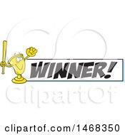 Golden Trophy Mascot Playing Baseball By A Winner Banner