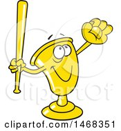 Poster, Art Print Of Golden Trophy Mascot Playing Baseball