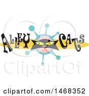 Black Kitty Face In A Retro Design With Alley Cats Text