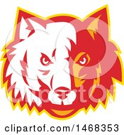 Clipart Of A Half White Half Red And Orange Wolf Face Royalty Free Vector Illustration by patrimonio