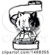 Clipart Of A Half Gray Half White Wolf Head Over A Pirate Ship And Banner Royalty Free Vector Illustration