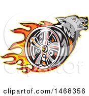 Clipart Of A Tough Wolf Head And Flaming Tire Wheel Rim Royalty Free Vector Illustration by patrimonio