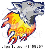 Flaming Wolf Mascot Head