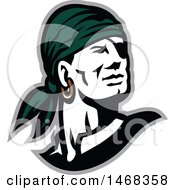 Clipart Of A Retro Male Pirate Wearing A Headscarf Facing Slightly To The Right Royalty Free Vector Illustration by patrimonio