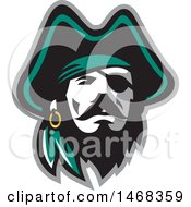 Clipart Of A Retro Male Pirate Captain In A Tricorn Hat With An Eye Patch Royalty Free Vector Illustration by patrimonio