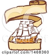 Clipart Of A Retro Pirate Ship In A Long Ribbon Banner Royalty Free Vector Illustration