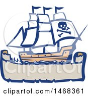Clipart Of A Retro Galleon Pirate Ship Over A Banner Royalty Free Vector Illustration