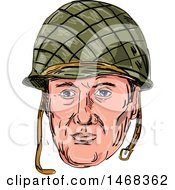 Poster, Art Print Of Sketched World War Two American Soldier Face With A Helmet
