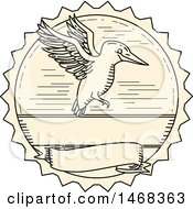 Clipart Of A Line Drawing Styled Kingfisher Bird Flying In A Seal Royalty Free Vector Illustration