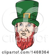 Clipart Of A Sketched Leprechaun Face Royalty Free Vector Illustration by patrimonio