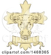 Sketched Taurus Bull Over A Christian Cross And Banner
