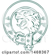Scottish Wildcat Or Highlands Tiger Head In A Celtic Belt