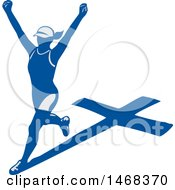 Poster, Art Print Of Female Marathon Runner With A Shadow Cross