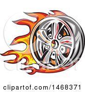 Clipart Of A Fiery Car Wheel Rim Royalty Free Vector Illustration by patrimonio