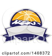 Clipart Of A Basketball And Mountains Circle Over A Blank Banner Royalty Free Vector Illustration