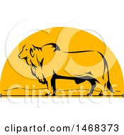 Clipart Of A Profiled Brahman Bull In A Half Circle Royalty Free Vector Illustration