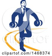 Retro Business Man Power Walking With Dumbbells On An Orange Lined Path