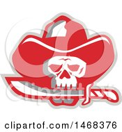 Clipart Of A Cowboy Pirate Skull Biting A Knife Royalty Free Vector Illustration