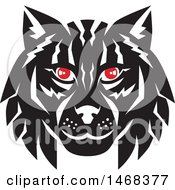 Clipart Of A Black And White Lynx Cat Face With Red Eyes Royalty Free Vector Illustration by patrimonio