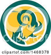 Clipart Of A Retro Bighorn Mountain Sheep Ram Head In A Green White And Yellow Circle Royalty Free Vector Illustration