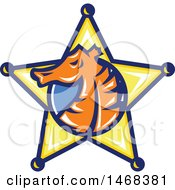 Clipart Of A Seahorse Head In Profile Within A Sheriff Star Badge Royalty Free Vector Illustration by patrimonio