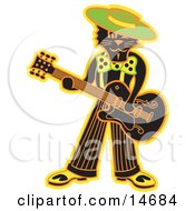 Cool Black Cat Playing A Guitar Clipart Illustration