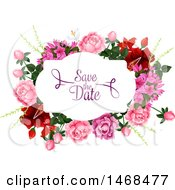 Clipart Of A Floral Wedding Save The Date Design Royalty Free Vector Illustration by Vector Tradition SM