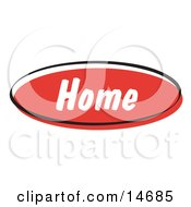 Red Home Internet Website Button Clipart Illustration