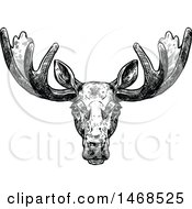 Clipart Of A Sketched Black And White Elk Royalty Free Vector Illustration by Vector Tradition SM