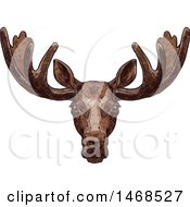 Clipart Of A Sketched Elk Royalty Free Vector Illustration