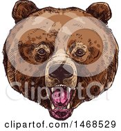 Clipart Of A Sketched Bear Face Royalty Free Vector Illustration by Vector Tradition SM