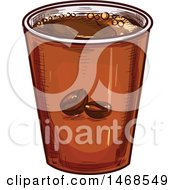 Clipart Of A Sketched Takeout Coffee Cup Royalty Free Vector Illustration by Vector Tradition SM