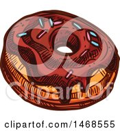 Clipart Of A Sketched Donut Royalty Free Vector Illustration